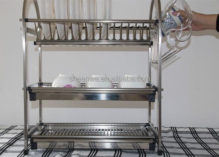 Wdj650-680 Gunagzhou Kitchen Storage Rack,3tier Stainless Steel Dish  Rack,Table-style Kitchen Bowl And Plate Rack - Buy Stainless Steel Kitchen  ...