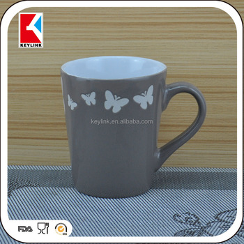 bulk different color glazed custom coffee logo printed butterfly cup