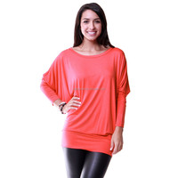 plus size Women's Dolman long sleeve Modal Tunic Top basic style