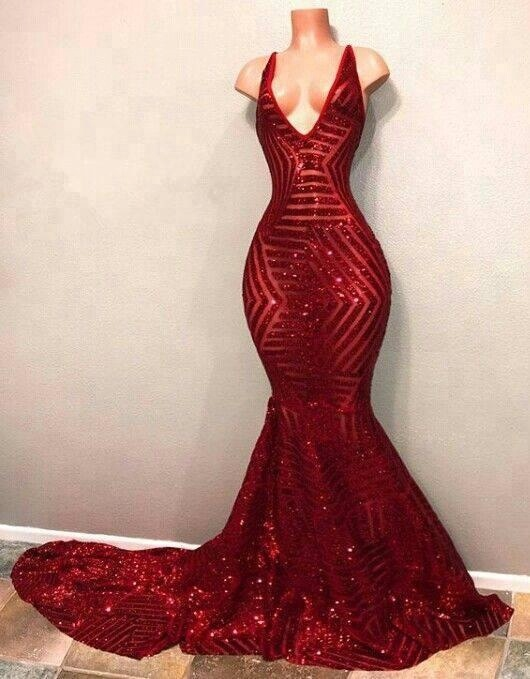 4333238e 2018 Wine Red Long Gowns Plunging Neckline Mermaid Evening Gown Sequin  Formal Dress Prom Dresses For Party