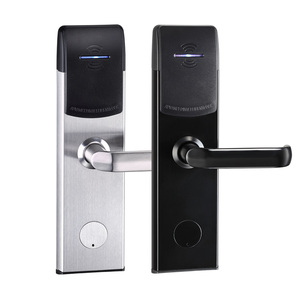 Stainless Steel Keyless Electronic Door Lock Hotel Card Key Lock System RFID Hotel Card Reader Door Lock with key and card