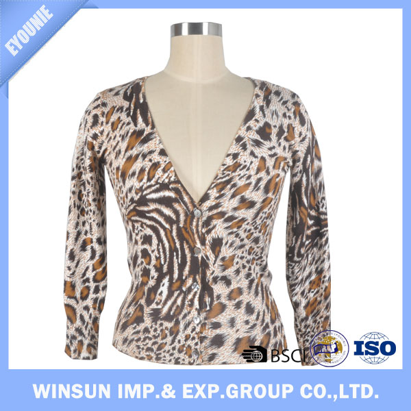 Spring Leopard Print Fabric Soft Cardigan Sweater For Women OEM