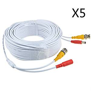JerGO Professional Grade Siamese Combo Coaxial Cable Pre-made All-in-One BNC Video Power Cable for 1080P /720P, TVI, CVI, AHD and HD-SDI Camera and Analog CCTV Camera ( White 100Ft )(5 Pack)