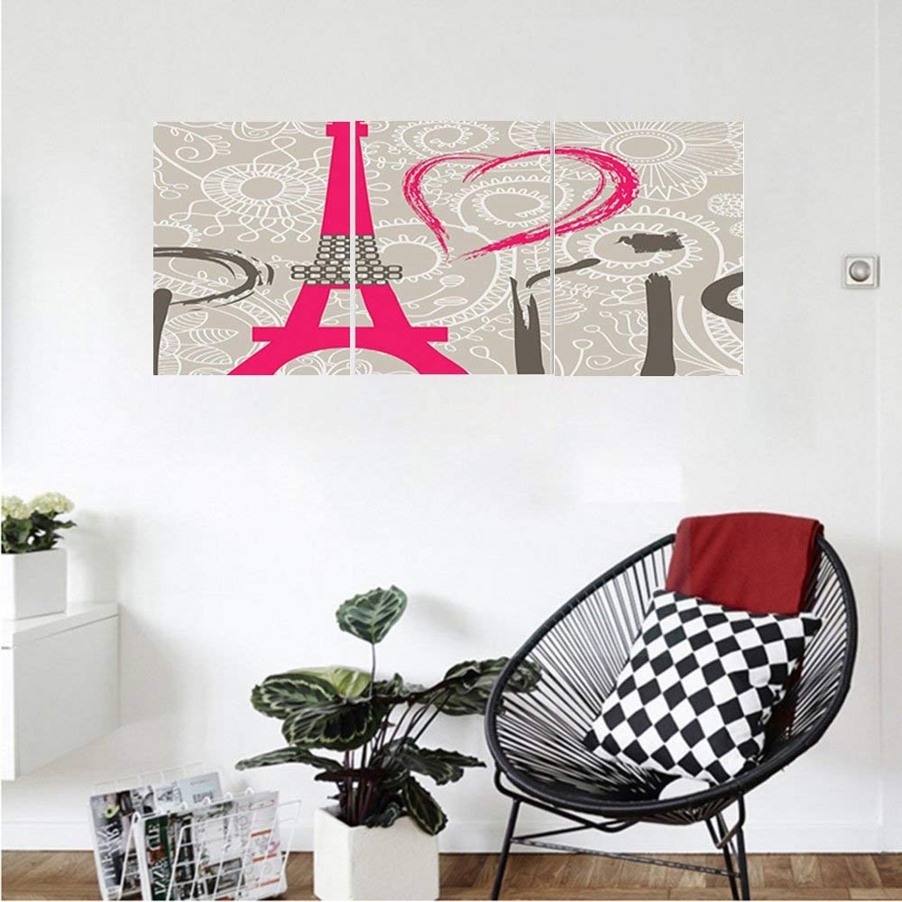 Liguo88 Custom canvas Eiffel Tower Decor Collection Paris Lettering I Love Paris Over Lace Pattern Background Heart Shape Classic Bedroom Living Room Wall Hanging