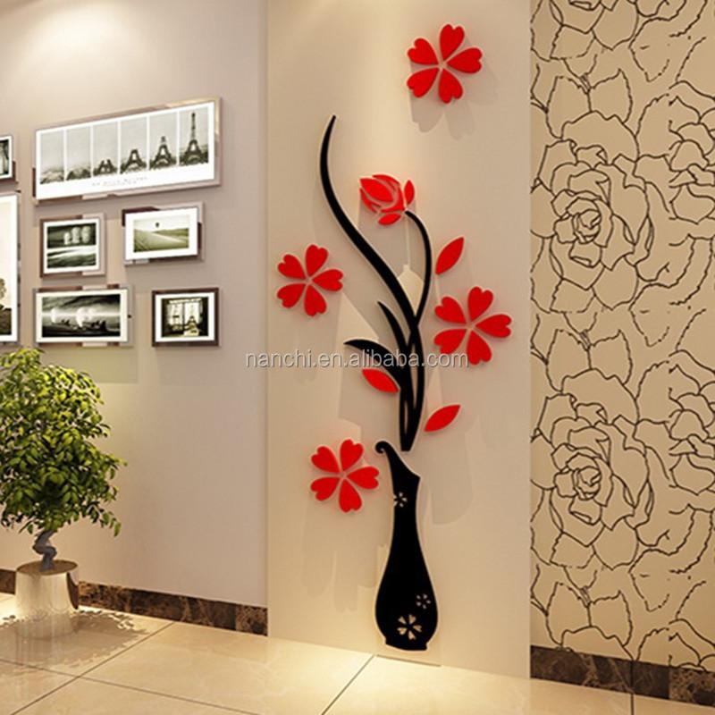Acrylique 3d prune fleur vase stickers muraux home decor - Stickers muraux pour salon ...