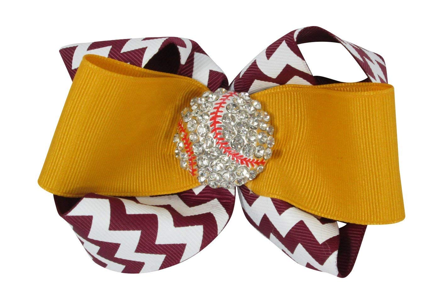 c4099cf847286 Get Quotations · Chevron Baseball Rhinestone Hair Bow Clip with Ribbon Bling