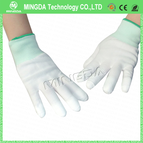 13 gauge nylon top finger coated gloves high quality China Finger Coated Nylon knitted cleaning gloves
