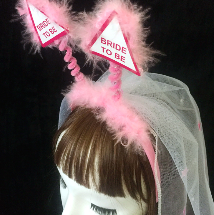 New bride to be star feather veil bridal headband accessories bachelorette party supplies white veil