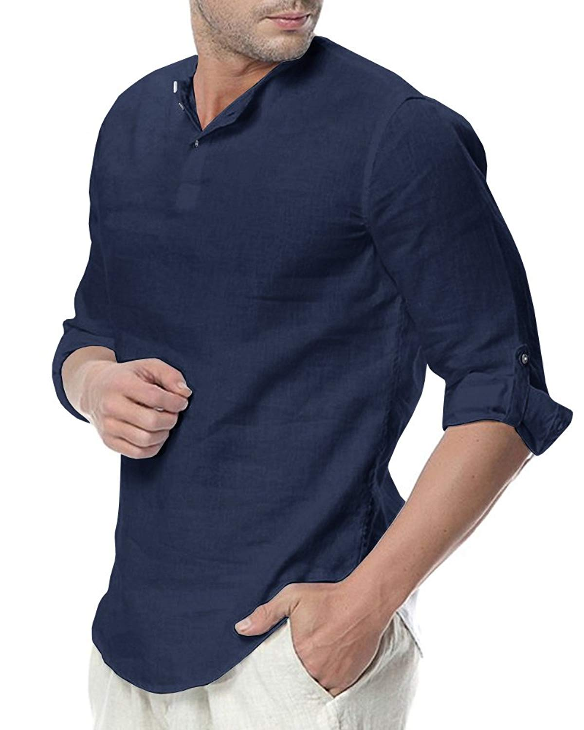 193ab45cf2e0 Get Quotations · Sibylla Men s Casual 3 4 Sleeve Linen Henley T-Shirt High  Low Solid Beach