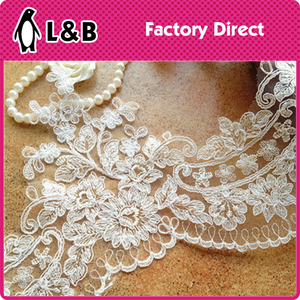2016 Alencon Lace Trim Embroidered Lace Wedding Veil Bridal Lace Trim