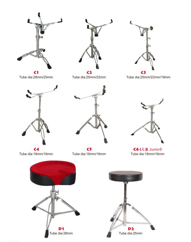 Snare Drum Sets Com Hastes Duplas Stands