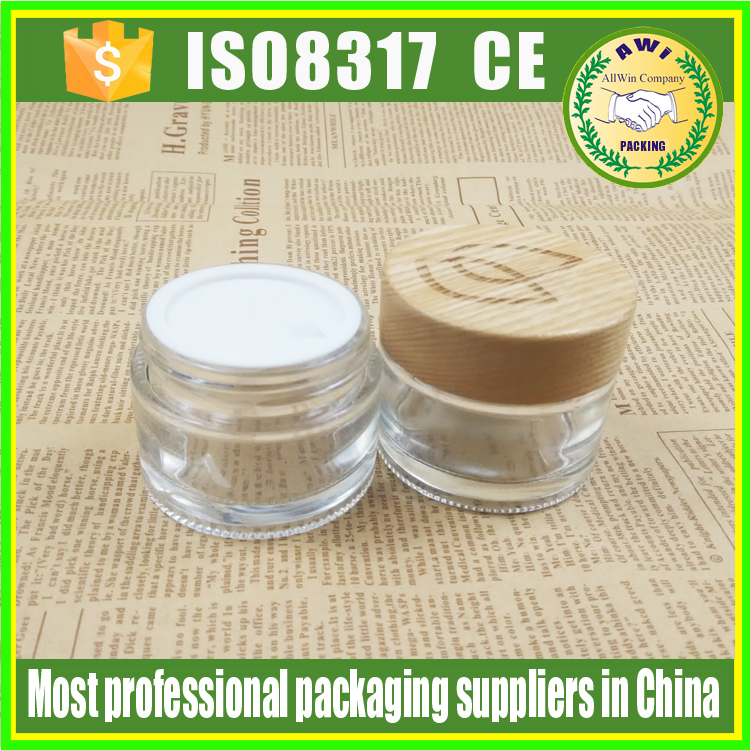 amber glass jar 100ml bamboo lid cosmetic jars glass with custom carve logo on top