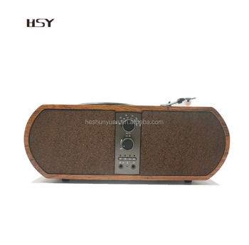 2017 new design retro wooden vinyl record bluetooth turntable player