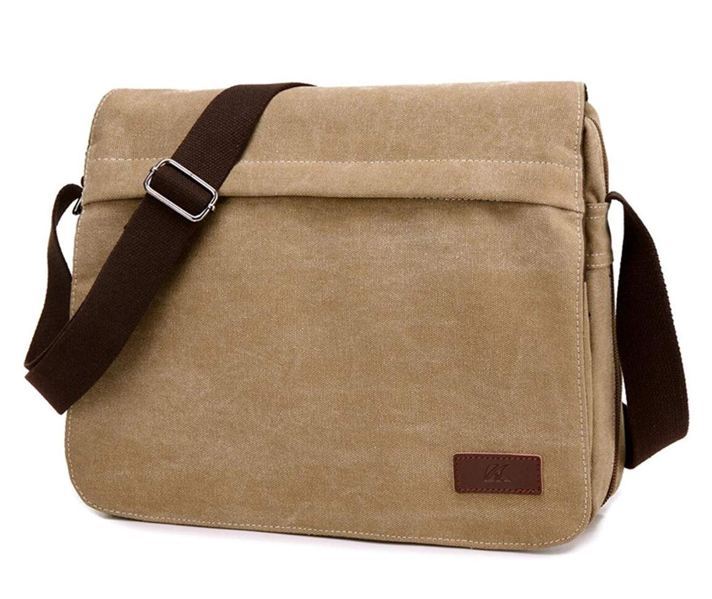 5d06098f7b13 Get Quotations · Men`s Canvas Vintage Messenger Bag Travel Crossbody Shoulder  Bag Slim Laptop Bag