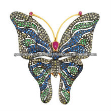 14k Gold Pave Diamond Multi Color Gemstone Butterfly Brooch and Pendant
