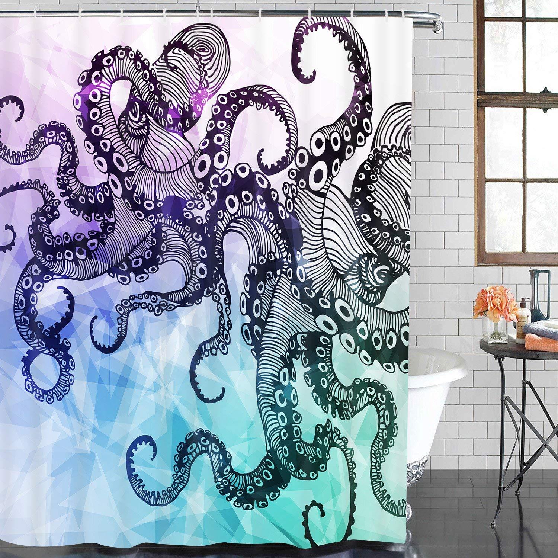 Buy Watercolor Octopus Waterproof Shower Curtains Shower