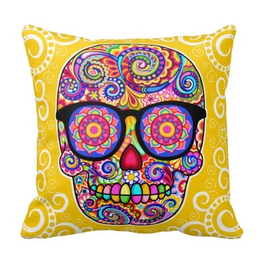 Modern And Simple Pillow Cover Hipster Sugar Skull Pillow Case Day Of The Dead Art (Size: 20