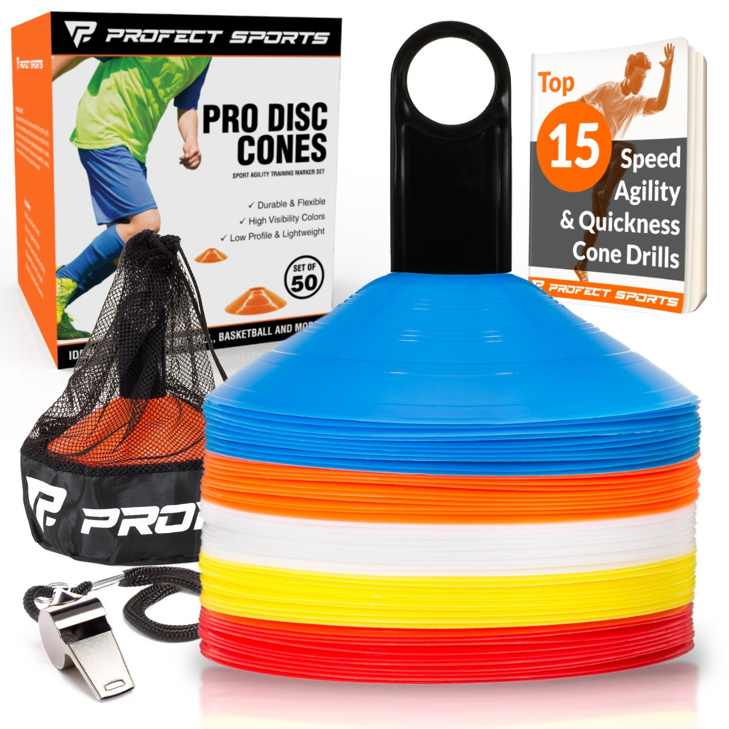8fb8b71a6 Get Quotations · Pro Disc Cones (Set of 50) - Agility Soccer Cones with Carry  Bag and