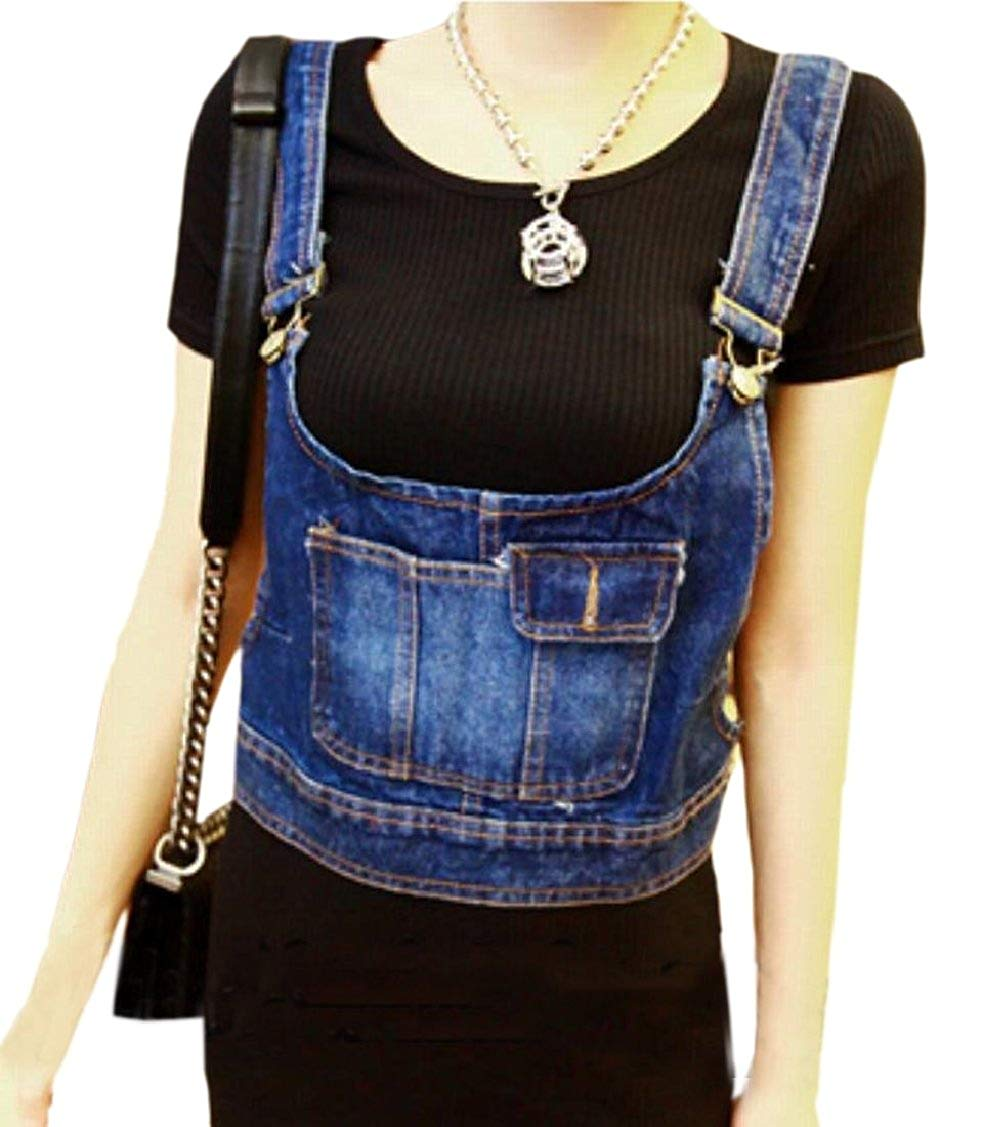 b65aca8d676 Get Quotations · Jaycargogo Womens Sexy Bib Slim Fit Denim Jeans Vest Crop  Top Jacket Waistcoat