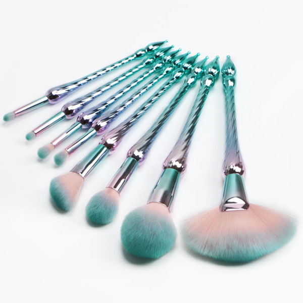2018 Professional 12pcs cute shiny blue plastic synthetic hair make your own brand make up brushes wholesale makeup brushes
