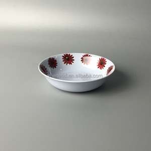 red galsang flower decal round flat melamine plastic seashell coconut bowl