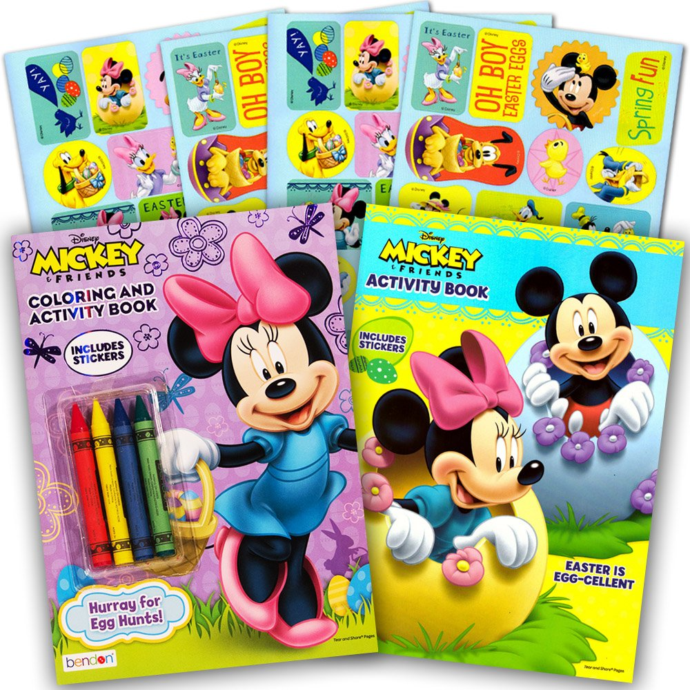 Disney Easter Coloring and Activity Book Set with Stickers (2 Books Featuring Mickey Mouse and Minnie Mouse)