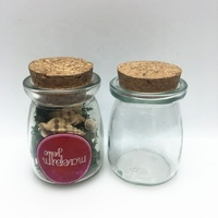 Customize cute 100ml small glass candy jar with wooden cork lid