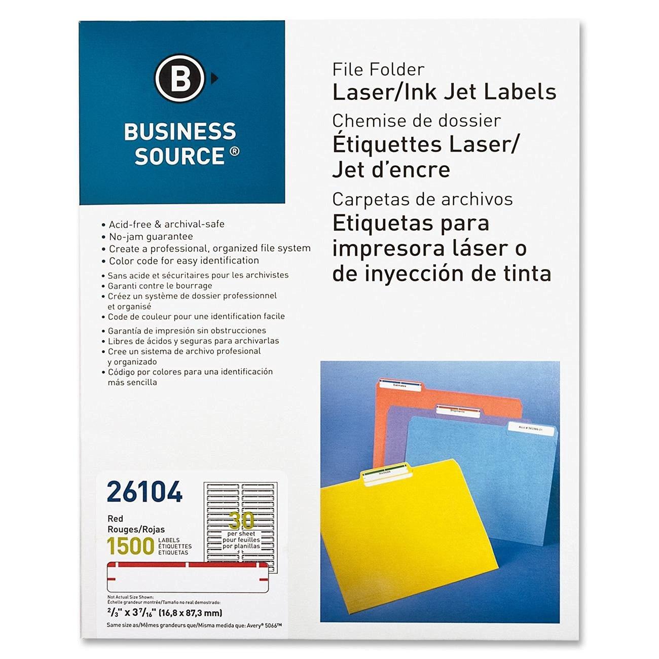 """Business Source File Folder Label - 0.66"""" Width x 3.43"""" Length - 1500 / Pack - Rectangle - 30/Sheet - Paper - Laser, Inkjet - Red"""