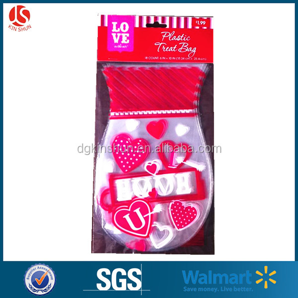 25 poly bags 5 X 9 inch shaped Valentines treat bags with twist tie