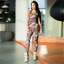 Wholesale 2019 Fashion Sports Fitness Clothing Best Sell Premium Stretch Sexy Floral Print Women Jumpsuit Tight Dance Yoga Pants