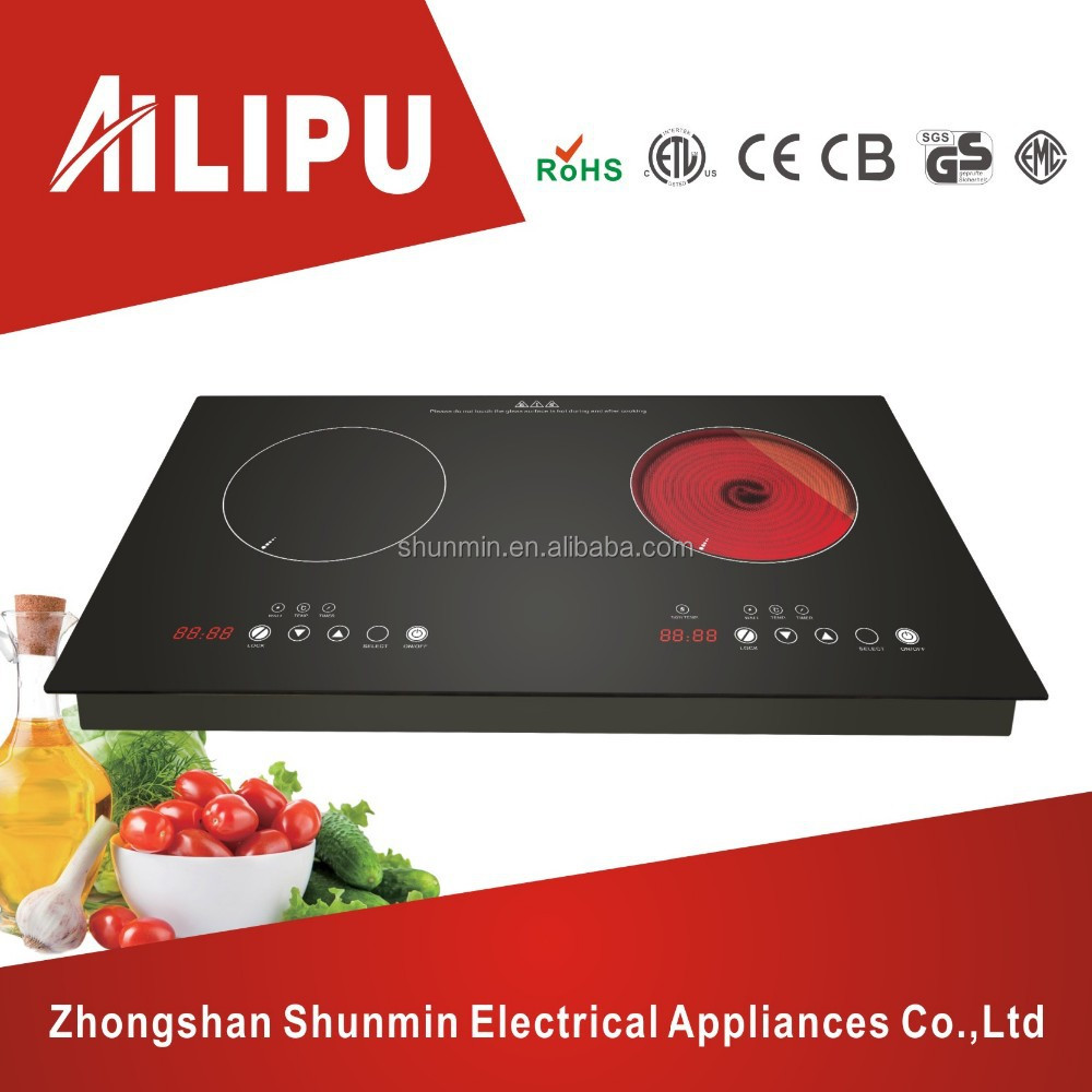 Embedded Style Metal Housing Two Hotplate Electric Induction Stove and Infrared Ceramic Cooker