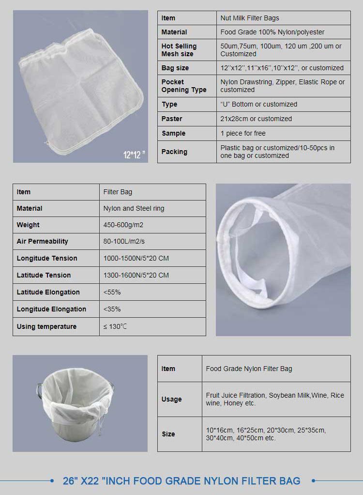 माइक्रो नायलॉन जाल तरल फिल्टर बैग जीवन में इस्तेमाल किया