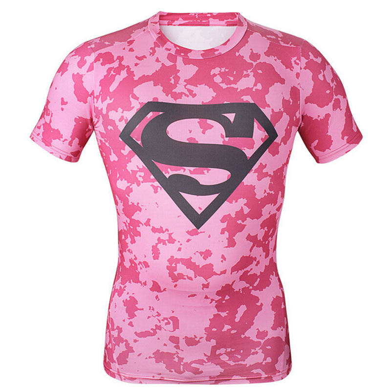 d0f762bb806 Get Quotations · Spandex Anti-Sweat Superman Compression Shirt Tights  Running T Shirt Quick Dry Bodybuilding Gym Mens