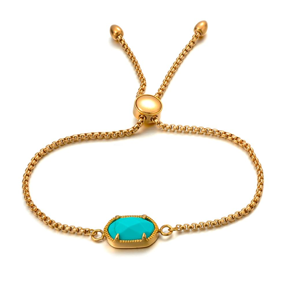 Fashion Jewelry Women Turquoise Stone Charm Gold Chain Adjustable Bracelet