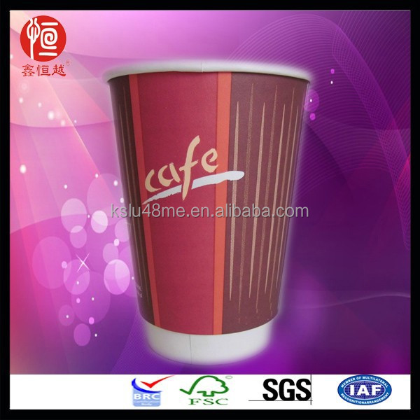 Double Wall Disposable Paper Cups Red Texture