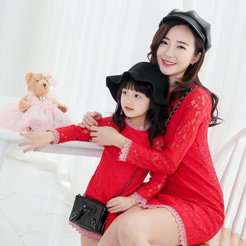 2016 New Family Matching Outfits Mother And Daughter Long sleeve Dresses Girl Lace Princess Dress