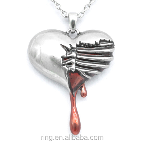 Vintage Gothic Jewellry Bleeding Heart Pendant Necklace Red Epoxy Zinc Alloy Bleeding Heart Shaped Necklace
