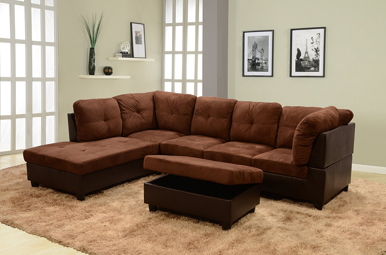 Groovy Lifestyle Coffee 3 Piece Microfiber Faux Leather Left Facing Sectional Sofa Set With Free Storage Ottoman Cjindustries Chair Design For Home Cjindustriesco