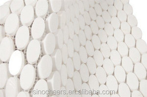 oval/round crystal white thassos marble mosaic tile for home deco
