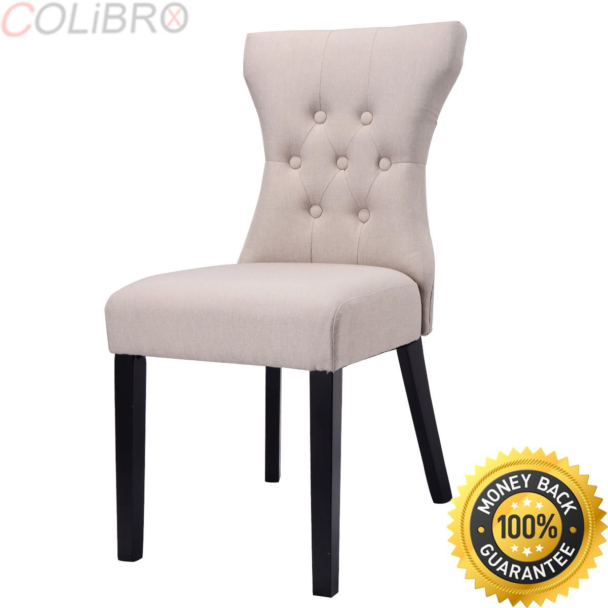e39376ac03e5 Get Quotations · COLIBROX--Set of 2 Dining Chair Modern Armless Tufted  Design Living Room Furniture Beige
