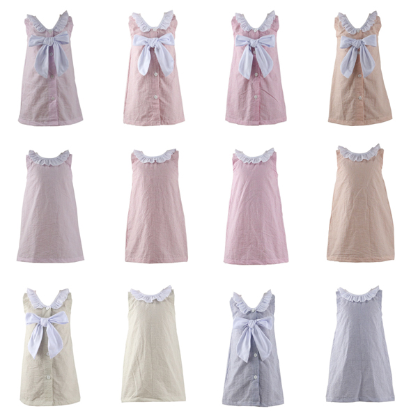 Wholesale 2016 seersucker back bigger bow infant beach dress baby beach dress kids beach dress