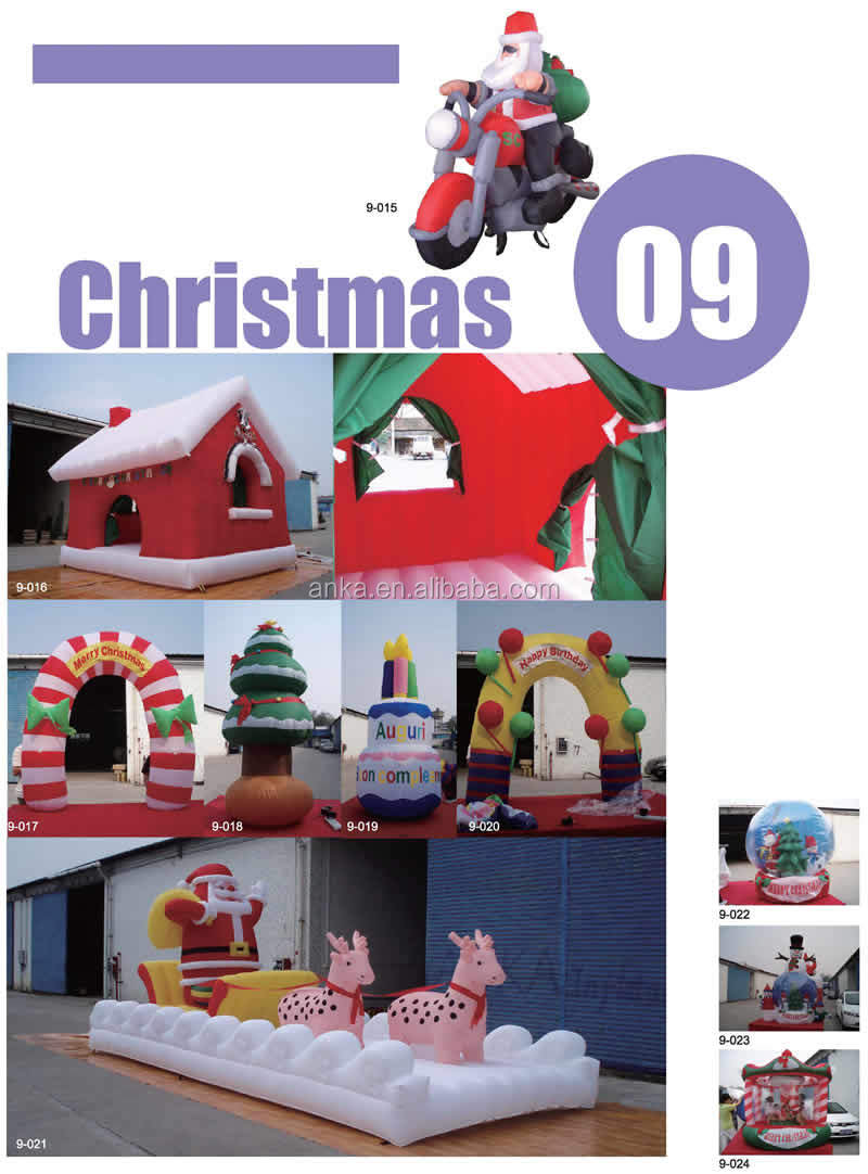 Christmas decoration type PVC tarpaulin inflatable christmas castle for kids