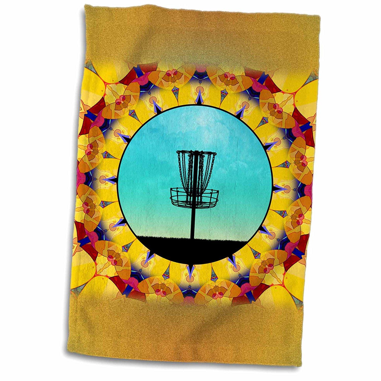 3dRose Phil Perkins - Disc Golf - Disc Golf Abstract Basket - colorful mandala frisbee disc golf design - 12x18 Towel (twl_243469_1)