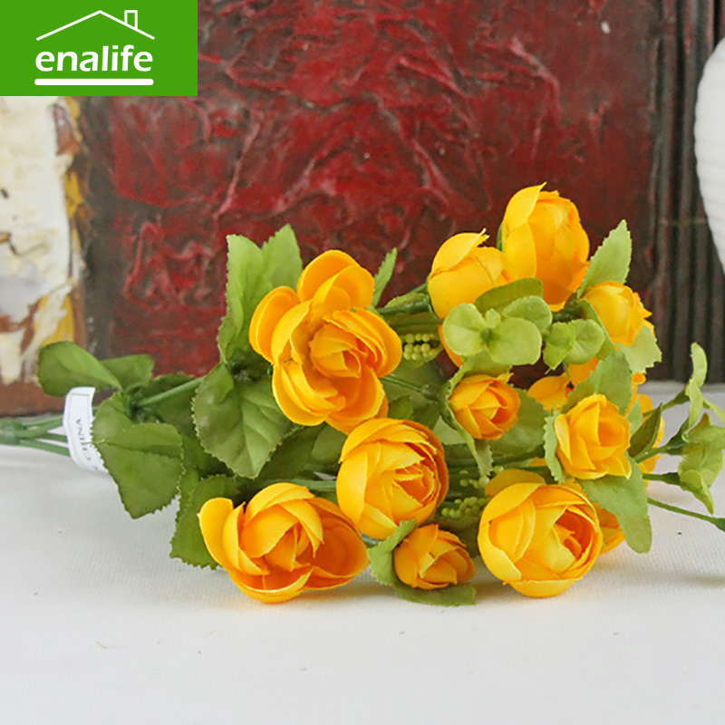 Hot green color delicate spring rose 6 new high-end simulation color Camellia bouquet of roses home best