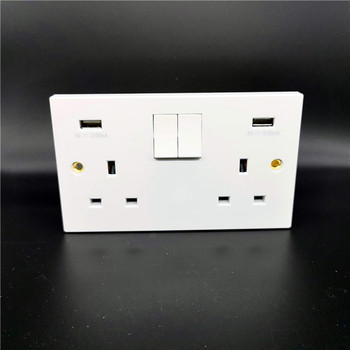 2019 hot sale 2 double 5v 3.1a usb outlets uk wall switch bs type sockets white range 146*86 size 250v usb wall socket uk bs