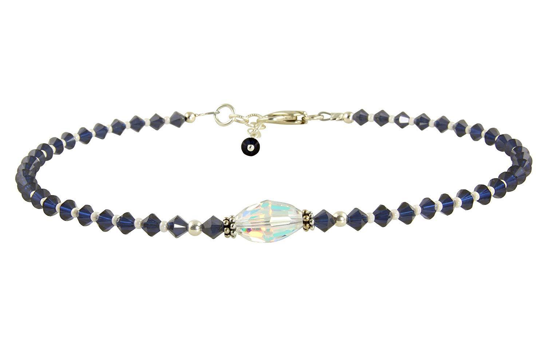 Kismet - Something Blue Wedding Crystal Beaded Anklet, something blue for bride, wedding anklet, wedding jewelry, custom