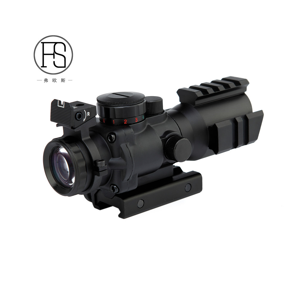 Hunting Reflex 4X32 Red Green Dot Sight Tactical Airgun Rifle Scope Airsoft Shooting Scope with Rail, Matte black