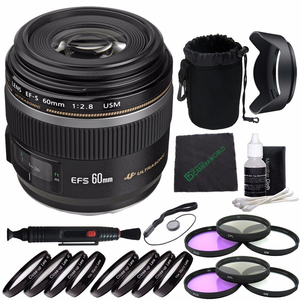 Canon EF-S 60mm f/2.8 Macro USM Lens + 52mm 3 Piece Filter Set (UV, CPL, FL) + 52mm +1 +2 +4 +10 Close-Up Macro Filter Set with Pouch + SLR Lens Pouch + Lens Cleaning Pen + Lens Hood Bundle 7