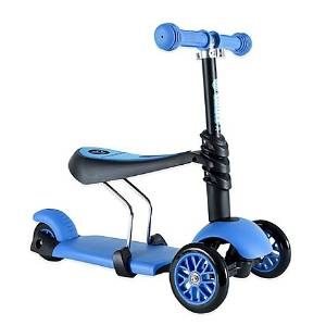 Yvolution Y Glider YG31B 3-in-1 Scooter in Blue, 3-Wheeled Scooter Features Removable Seat And Height-Adjustable Handlebars