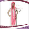 Crazy long straight cosplay pink wig